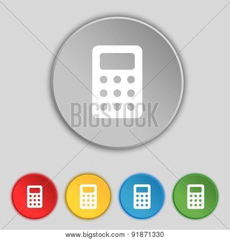 Calculator, Bookkeeping Icon Sign. Symbol On Five Flat Buttons. Vector