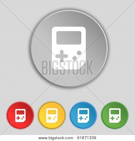Tetris Icon Sign. Symbol On Five Flat Buttons. Vector