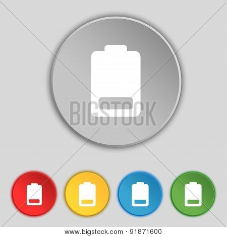 Battery Low Level, Electricity Icon Sign. Symbol On Five Flat Buttons. Vector