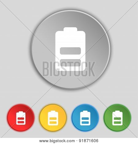 Battery Half Level, Low Electricity Icon Sign. Symbol On Five Flat Buttons. Vector