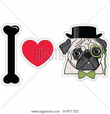 I Love Pugs With Monocle, Tie Bow And Hat