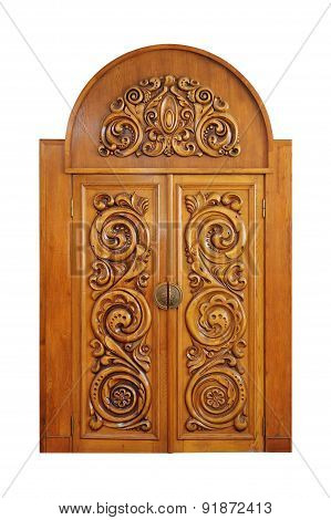 Carved Door Isolated On A White Background