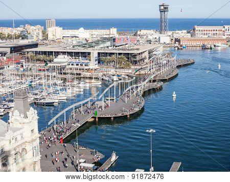 BARCELONA, SPAIN - APRIL, 2015: Rambla de Mar and shopping mall Maremagnum in Barcelona