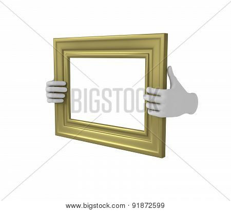 Two Hands Holding A Gold Rectangular Picture Frame. 3D. Isolated.
