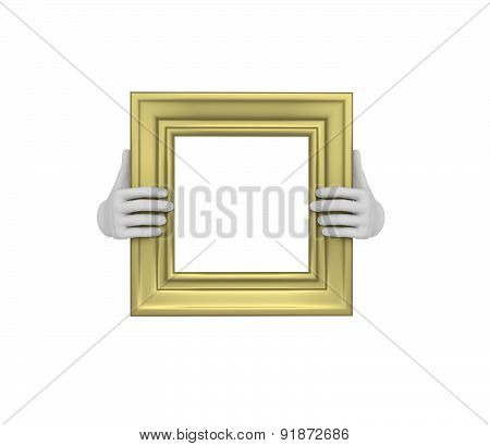 Two Hands Holding A Gold Square Picture Frame. 3D. Isolated.