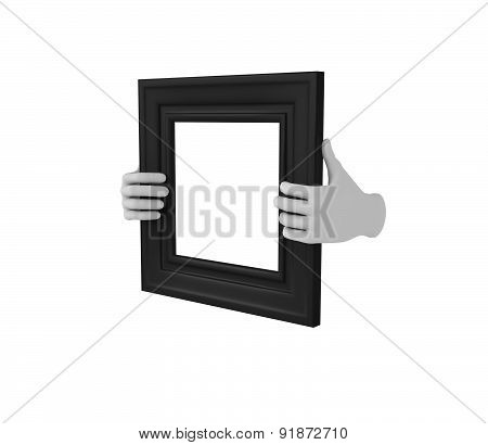 Two Hands Holding A Black Square Picture Frame. 3D. Isolated.