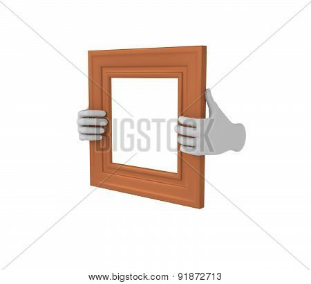 Two Hands Holding A Brown Square Picture Frame. 3D. Isolated.