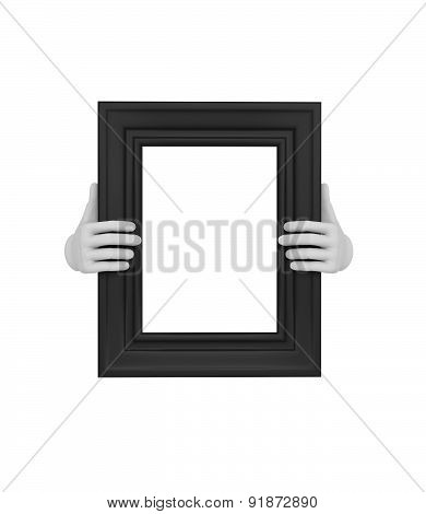 Two Hands Holding A Black Rectangular Picture Frame. 3D. Isolated.