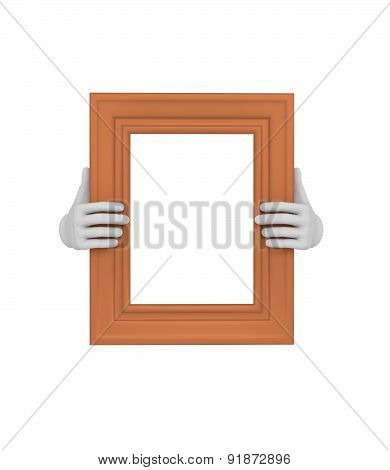 Two Hands Holding A Brown Rectangular Picture Frame. 3D. Isolated.