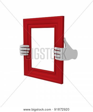 Two Hands Holding A Red Rectangular Picture Frame. 3D. Isolated.