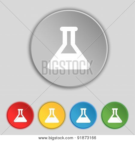 Conical Flask Icon Sign. Symbol On Five Flat Buttons. Vector