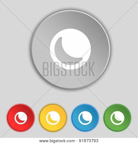 Moon Icon Sign. Symbol On Five Flat Buttons. Vector