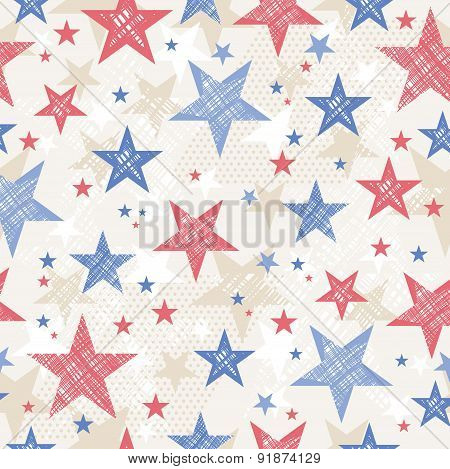 Background With Seamless Pattern With Red And Blue Stars For  Independence Day, Vector Illustration