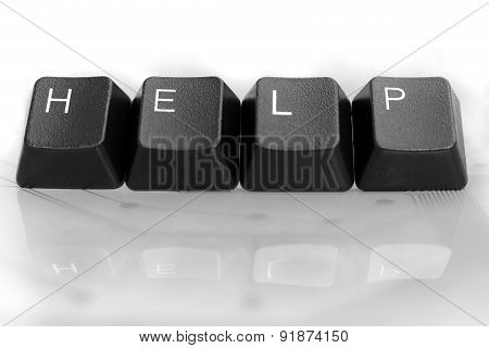 It Help, Four Keyboard Keys With Reflection On White Glass