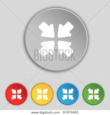 Turn To Full Screen Icon Sign. Symbol On Five Flat Buttons. Vector