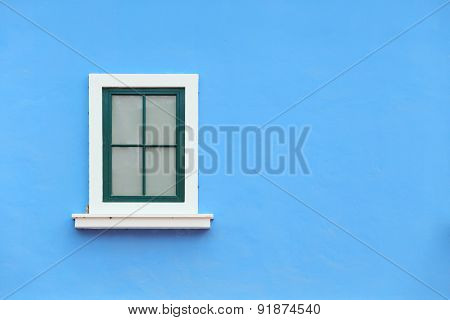 Vintage Window With Wall Background