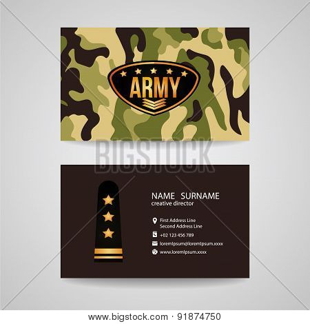 business card Template design for army and soldier texture