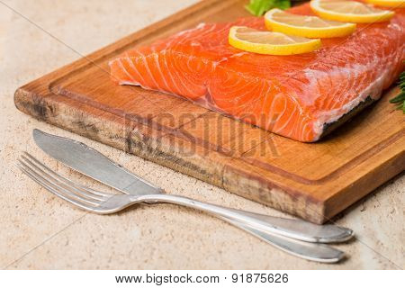 Fresh Salmon Fillet With Aromatic Herbs, Spices