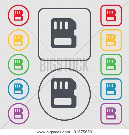 Compact Memory Card Icon Sign. Symbol On The Round And Square Buttons With Frame. Vector