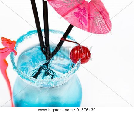 Closeup Freshness Cocktail With Ice In Glass With Drinking Straw
