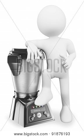 3D White People. Man With A Modern Food Processor