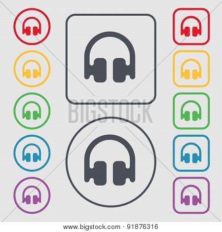 Headphones, Earphones Icon Sign. Symbol On The Round And Square Buttons With Frame. Vector