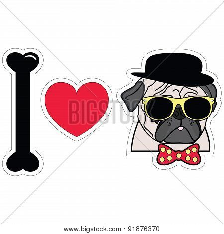 I Love Pugs Hipster  With Tie Bow With Dots Sun Glasses And Hat