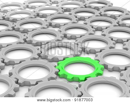 green gear among the gray on a white background. The concept of leadership in the team. 3d