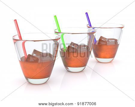 realistic whiskey with ice and straws in the glass. RGB. 3D