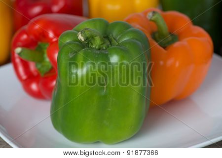 Green Bell Pepper on White Plate