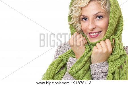 Female Wrapped With Wool Scarf And Cap, Isolated On White Background. Woman Wearing Winter Clothing,