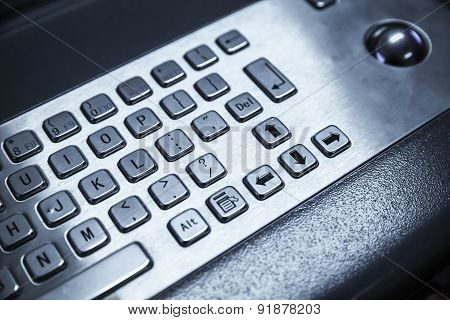 Industrial Keyboard Made Of Steel With A Trackball