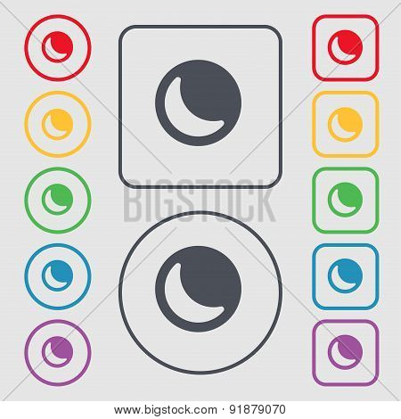 Moon Icon Sign. Symbol On The Round And Square Buttons With Frame. Vector