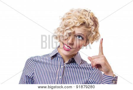 Confused Female With A Facial Expression Showing With Their Finger Up, Isolated On White Background.