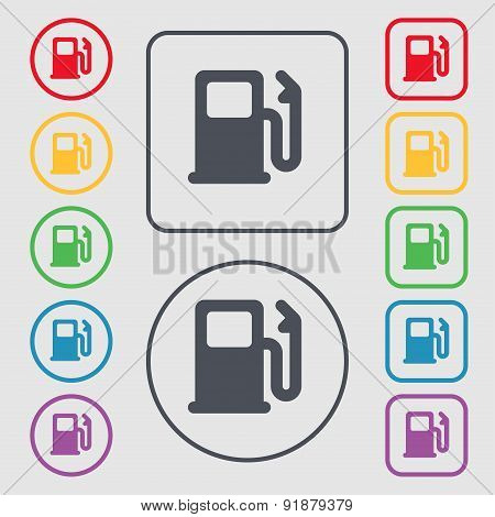 Petrol Or Gas Station, Car Fuel Icon Sign. Symbol On The Round And Square Buttons With Frame. Vector