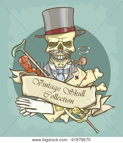Victorian Era Skull Label