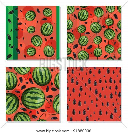 Set of seamless background with watermelons.