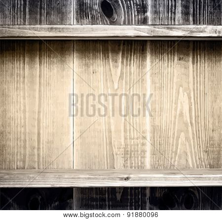 Old grunge wooden planks texture with shelf for books, kitchen utensils and other items