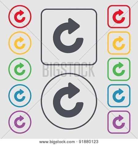 Upgrade, Arrow Icon Sign. Symbol On The Round And Square Buttons With Frame. Vector