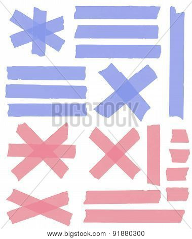Set of horizontal and different size sticky tape,adhesive pieces, torn paper on white background. Ve