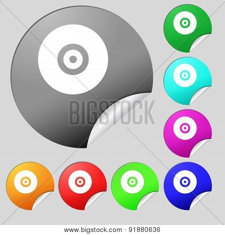 Cd Or Dvd Icon Sign. Set Of Eight Multi-colored Round Buttons, Stickers. Vector