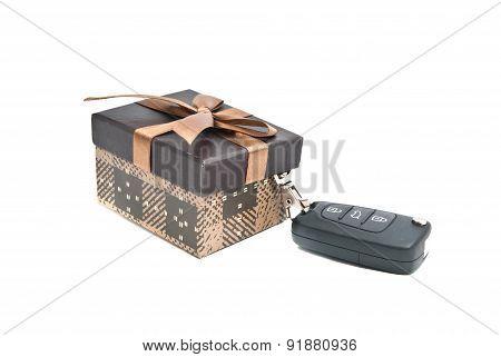 Brown Gift Box And Car Keys