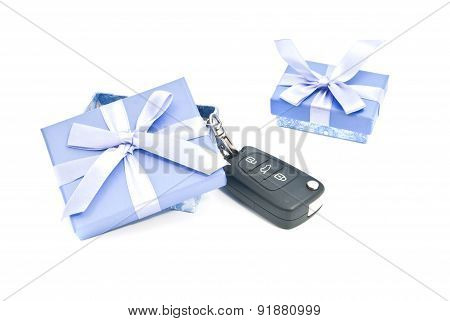 Two Gift Boxes And Car Keys