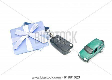 Gift Box, Green Car And Keys