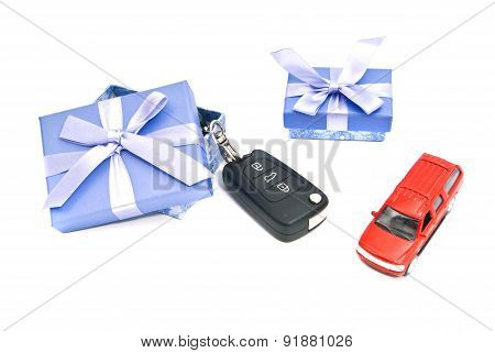 Two Gift Boxes, Car And Keys
