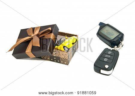 Car Keys, Sport Car And Gift Box