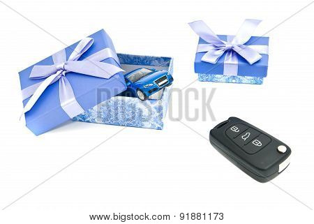 Car Keys, Blue Car And Blue Gift Boxes