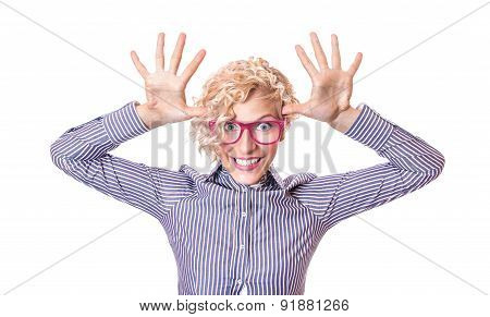 Funny Woman Pulling A Face, Isolated On White Background. Close Up Studio Shot Of Humorous Girl