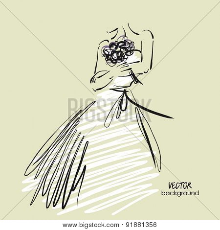 art sketch #7 of beautiful young bride in white dress with the bride's bouquet. Vector background with space for text.