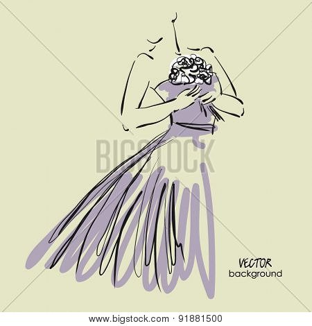 art sketch #9 of beautiful young  bride in lilac dress with the bride's bouquet. Vector background with space for text.